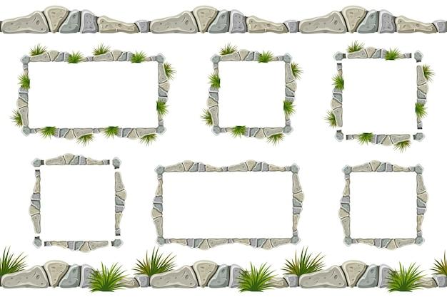 Conjunto de borda de pedra cinza velha, quadros com grama. Vetor grátis