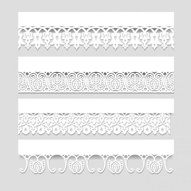 Conjunto de bordas de renda branca sem costura com sombras, linhas de papel ornamentais, vetor eps10 Vetor Premium