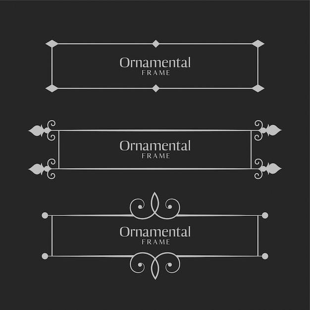 Conjunto de bordas decorativas ornamentais Vetor grátis
