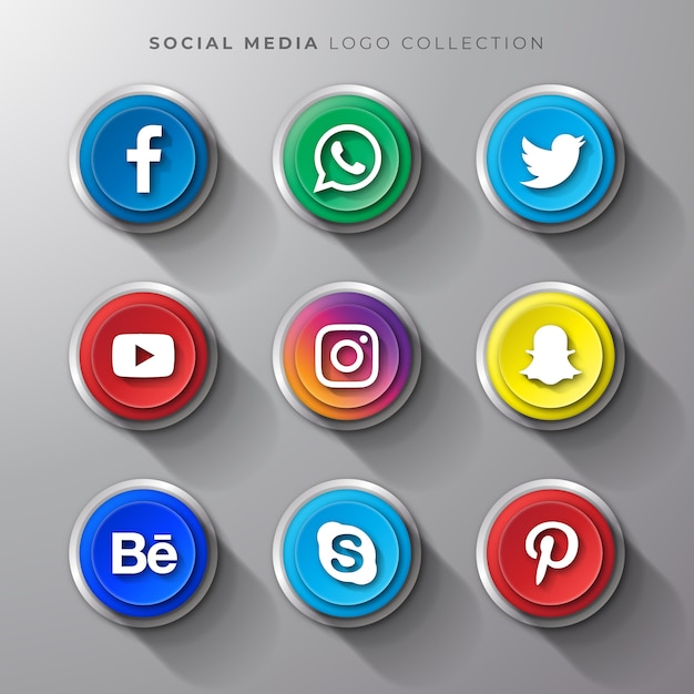 Conjunto de botão realista de logotipo de mídia social Vetor Premium