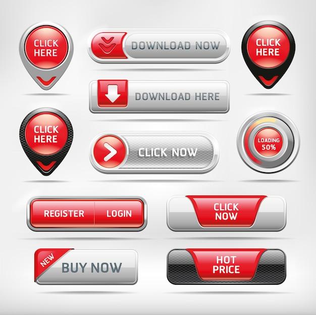 Conjunto de botão vermelho lustroso web elementos. Vetor Premium