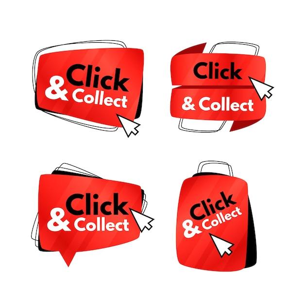 Conjunto de botões criativos de clique e coleta Vetor grátis