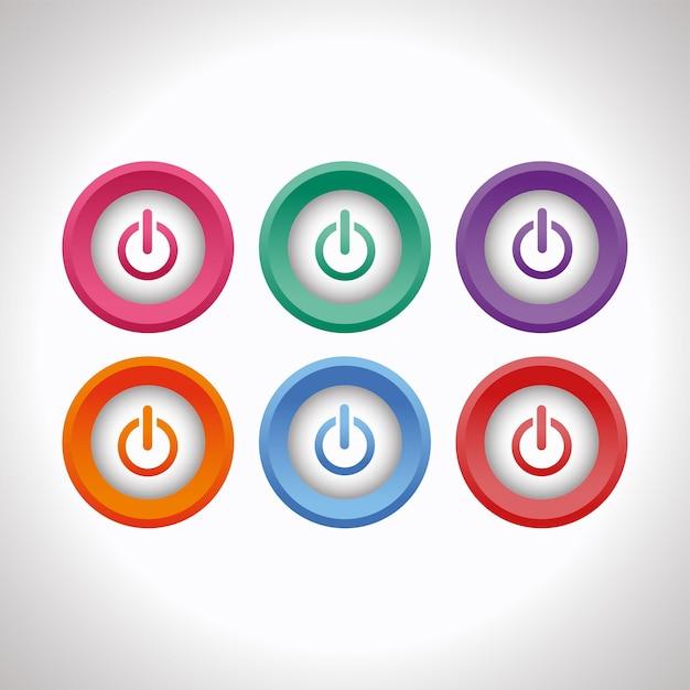 Conjunto de botões de energia 3d Vetor Premium