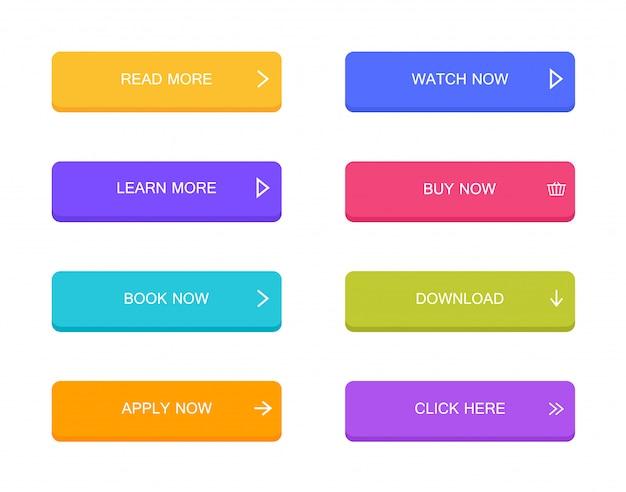 Conjunto de botões de estilo material moderno para site, aplicativo móvel e infográfico. diferentes cores gradientes. moderno estilo plano Vetor Premium
