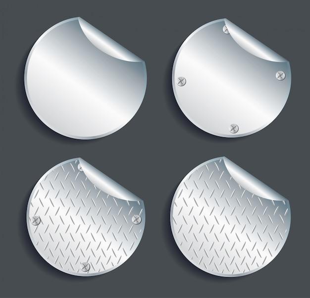 Conjunto de botões de metal círculo de placa vector Vetor Premium
