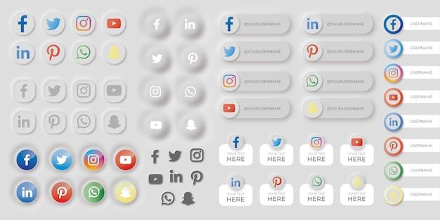 Conjunto de botões de mídias sociais no estilo neumorfo Vetor grátis