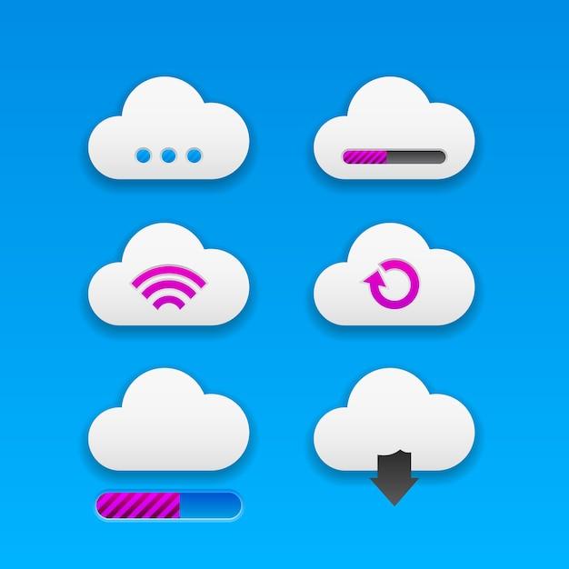 Conjunto de botões de nuvem smoothy na moda modernos para aplicativos e designs de sites. neomorfismo Vetor Premium