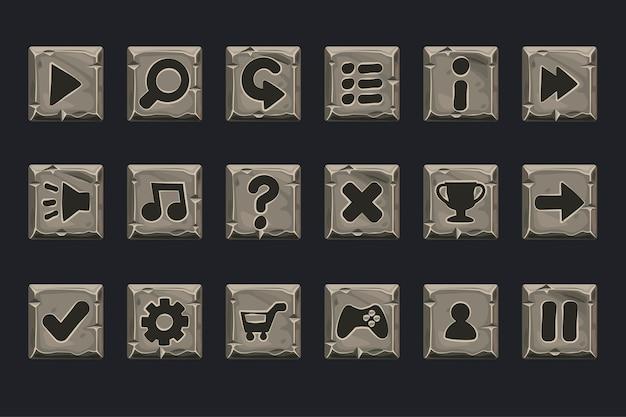 Conjunto de botões de pedra cinza para web ou jogo. ícones em uma camada separada Vetor Premium
