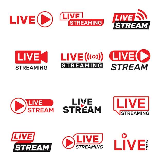 Conjunto de botões de transmissão ao vivo Vetor grátis