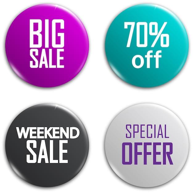 Conjunto de botões de venda brilhante. Vetor Premium