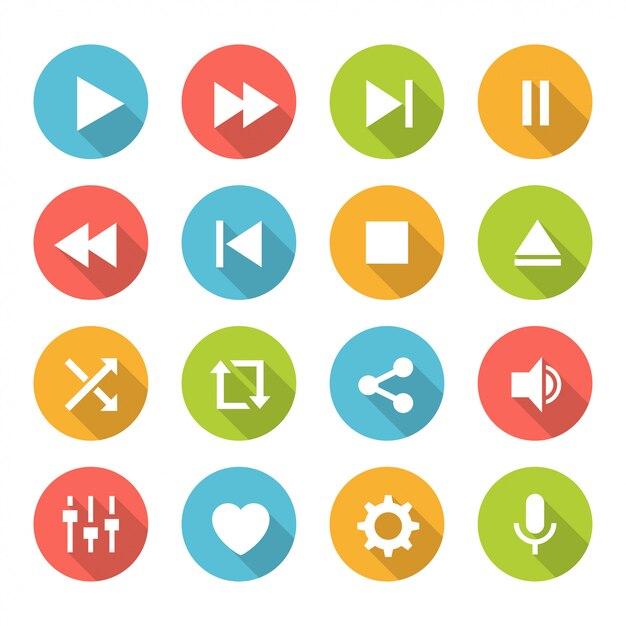 Conjunto de botões do media player Vetor Premium