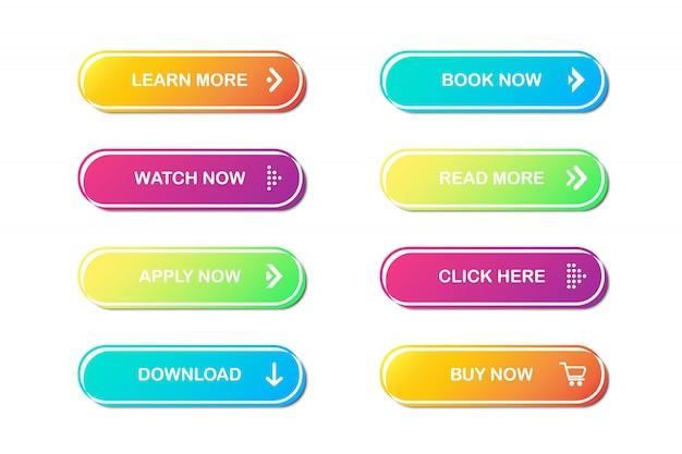 Conjunto de botões do site. Vetor Premium