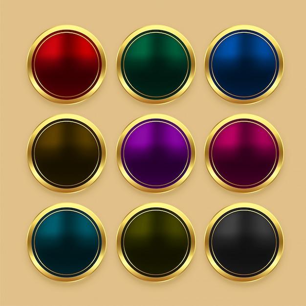 Conjunto de botões dourados metálicos de cor Vetor grátis