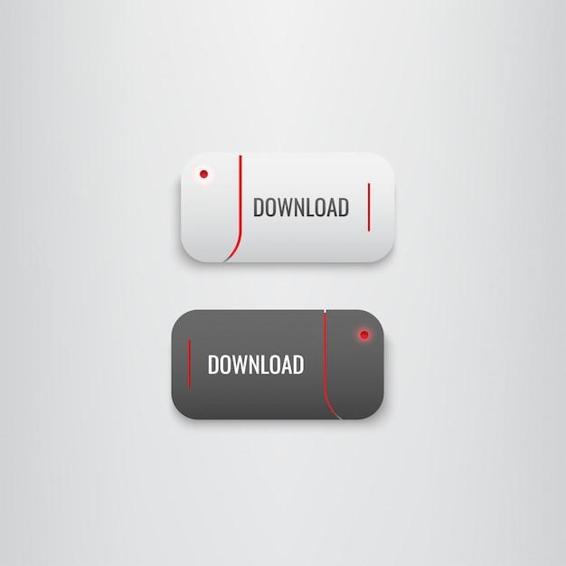 Conjunto de botões download vermelho-preto Vetor Premium