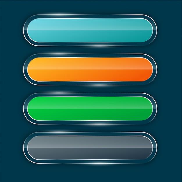Conjunto de botões largos brilhantes Vetor grátis