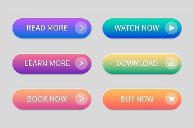 Conjunto de botões modernos para site e interface de usuário. botões de gradiente. Vetor Premium