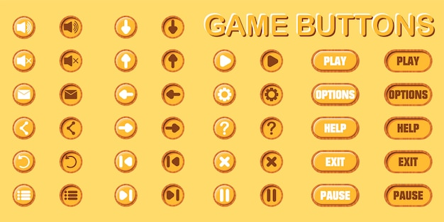 Conjunto de botões para o design de jogos e aplicativos. duas posições - original e pressionada. Vetor Premium