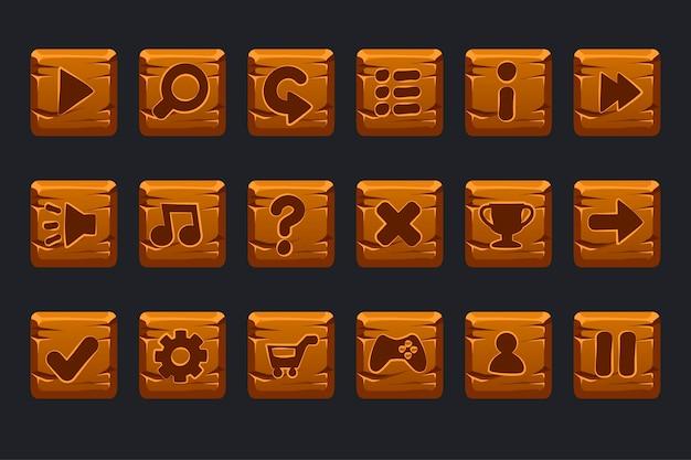 Conjunto de botões quadrados de madeira de desenho animado para interface gráfica de usuário gui Vetor Premium