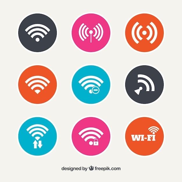 Conjunto de botões redondos wifi Vetor grátis