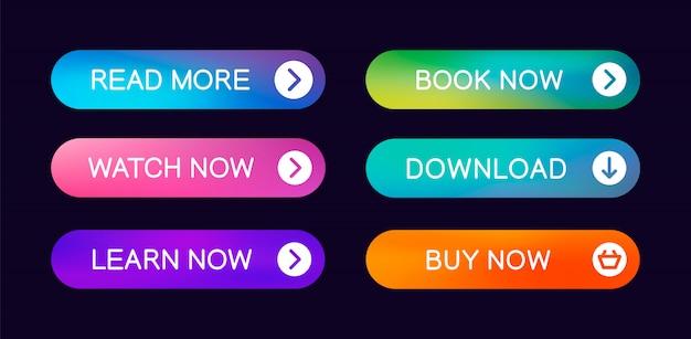 Conjunto de botões web abstrata moderna com a capacidade de editar Vetor Premium