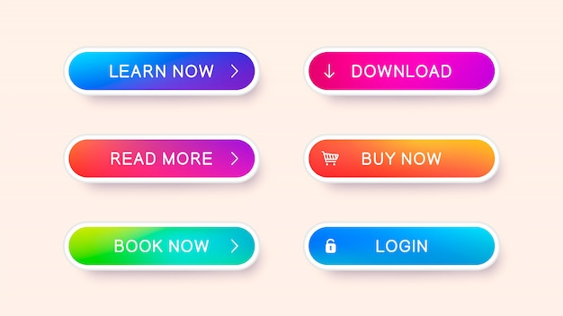 Conjunto de botões web abstrata moderna. modelo pronto de botões de vetor Vetor Premium
