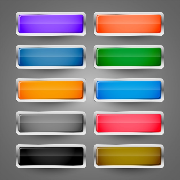 Conjunto de botões web metálico brilhante em branco Vetor grátis
