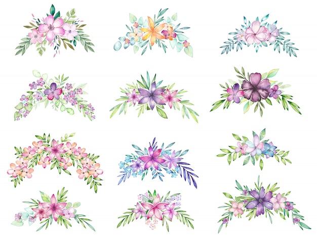 Conjunto de bouquet floral em aquarela Vetor Premium