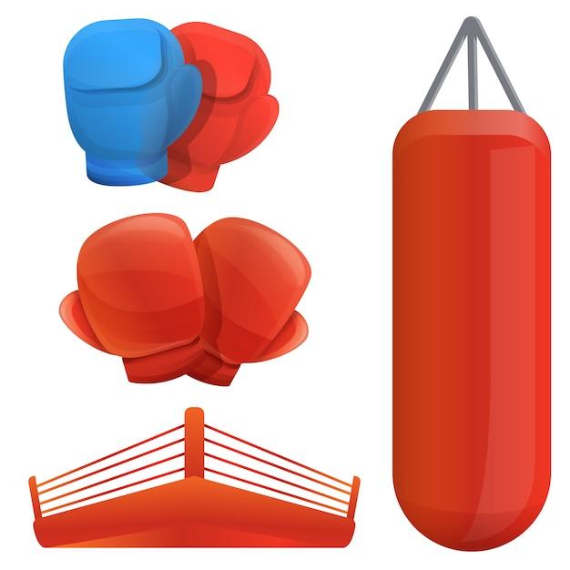 Conjunto de boxe, estilo cartoon Vetor Premium