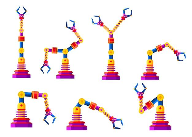 Conjunto de braços robóticos coloridos, mãos. coleção de ícones do robô. tecnologia industrial e símbolos de fábrica. ilustração em fundo branco Vetor Premium