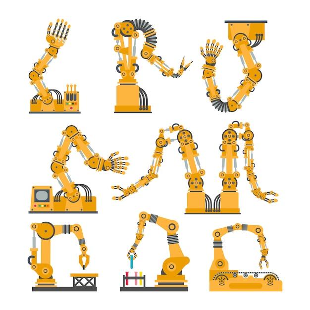 Conjunto de braços robóticos, mãos. conjunto de ícones de robô de vetor. Vetor Premium