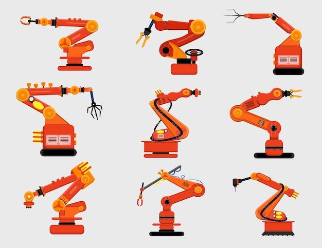 Conjunto de braços robóticos. várias garras mecânicas, robôs de fabricação isolados no branco. ilustração de desenho animado Vetor grátis