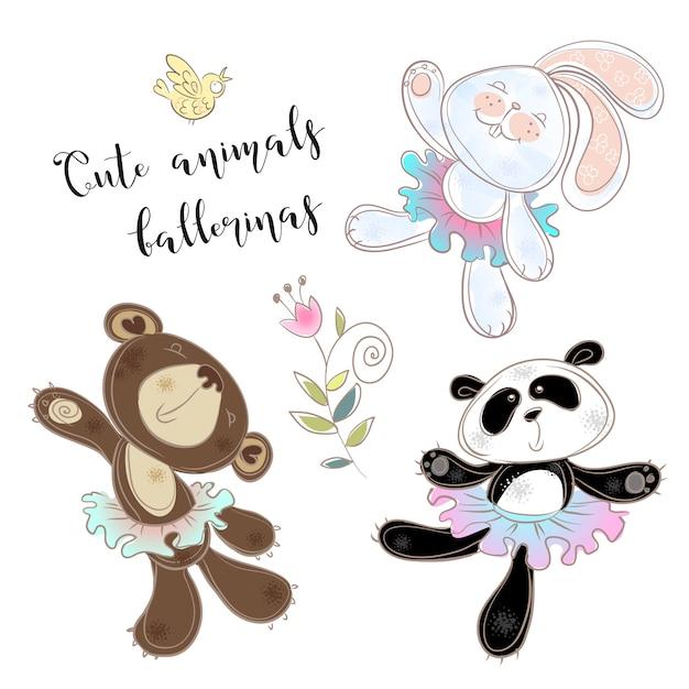 Conjunto de brinquedo de personagem. bear bunny and panda em tutus de balé. Vetor Premium