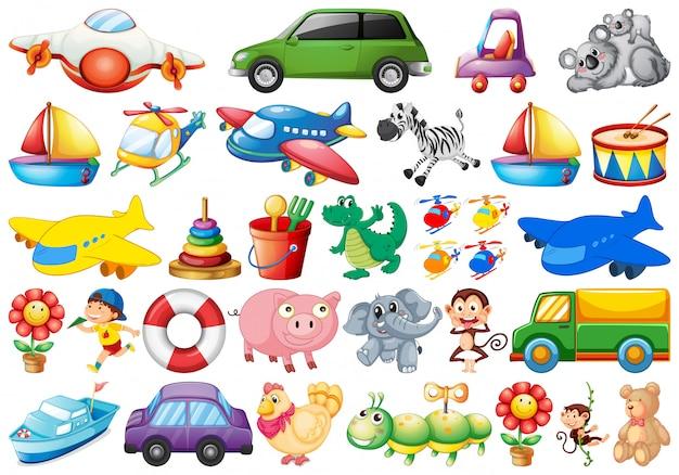 Conjunto de brinquedo para crianças Vetor grátis