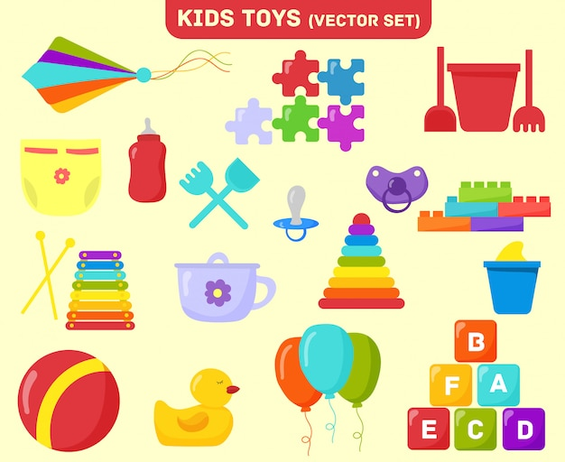 Conjunto de brinquedos de bebê. jardim de infância, brinquedos infantis, chocalho e xilofone, quebra-cabeças e bola. balde e pirâmide, cubos, pipa voando, quebra-cabeças, garrafa, bico, balões. ilustração dos desenhos animados de clipart plana. Vetor Premium