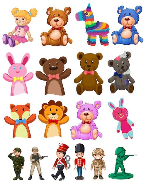 Conjunto de brinquedos para crianças Vetor grátis