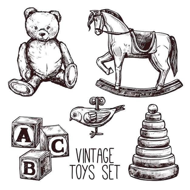Conjunto de brinquedos vintage Vetor grátis