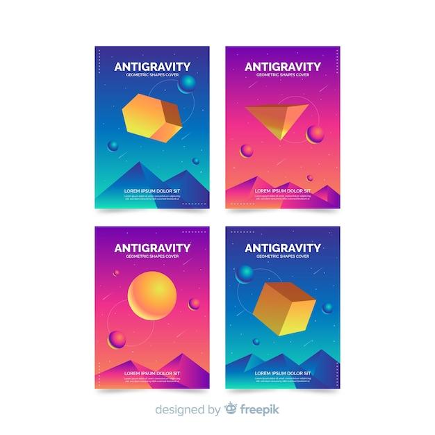 Conjunto de brochura colorido polígono 3d flutuante Vetor grátis