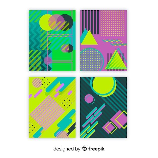 Conjunto de brochura de estilo de memphis Vetor grátis