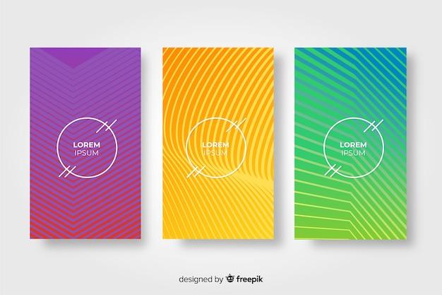 Conjunto de brochura de linhas geométricas Vetor grátis