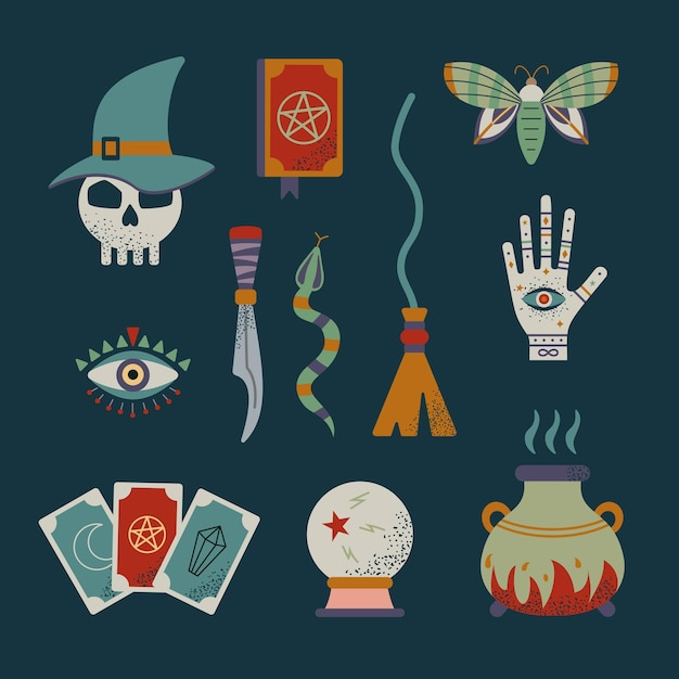 Conjunto de bruxa e magia mística. símbolos de feitiçaria. Vetor Premium