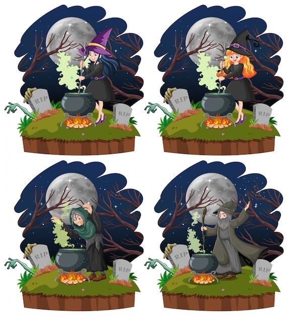Conjunto de bruxas com estilo de desenho animado pote de magia negra isolado no fundo branco Vetor grátis