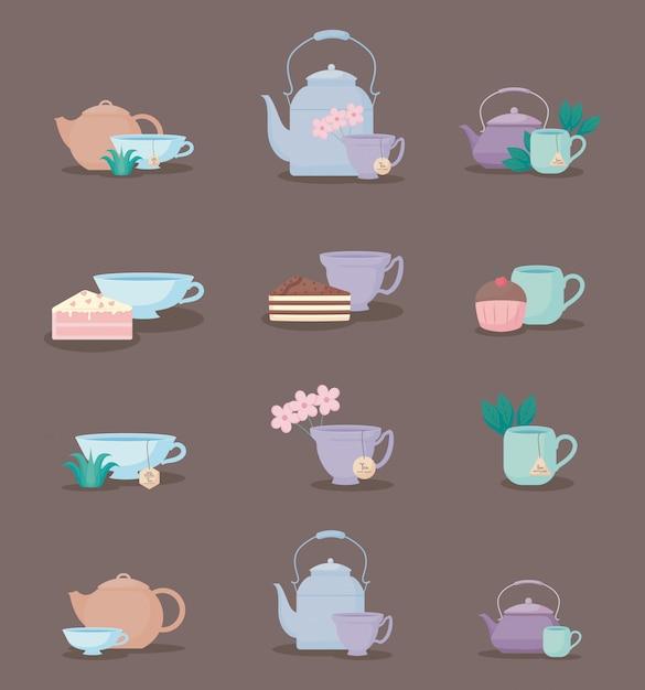 Conjunto de bules e xícaras de chá Vetor Premium