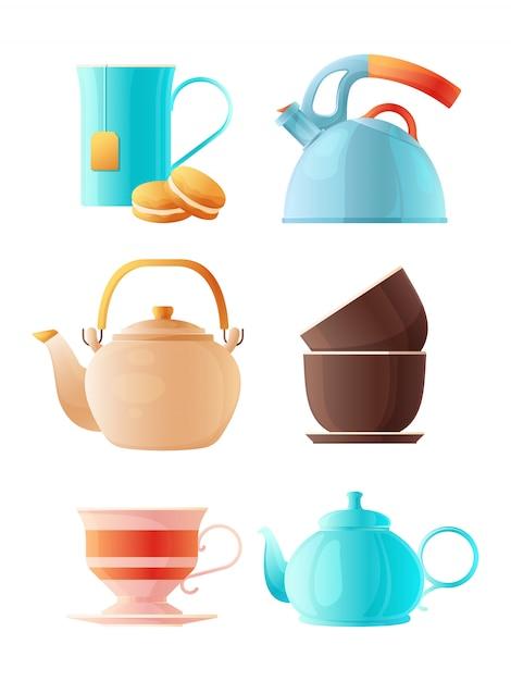 Conjunto de bules. xícara de desenhos animados de chá e várias chaleiras Vetor Premium
