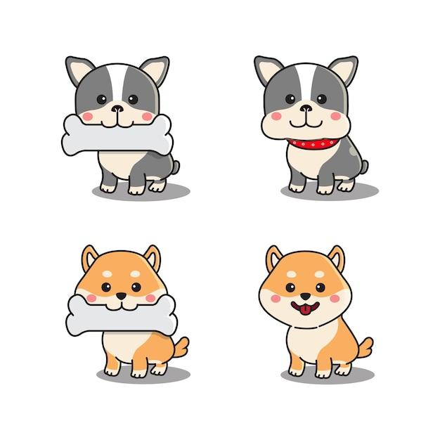 Conjunto de bulldog francês fofo e shiba inu em pé e segurando um osso na boca Vetor Premium