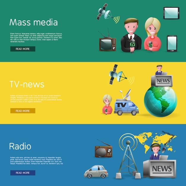 Conjunto de bunners de mídia de massa horizontal Vetor grátis