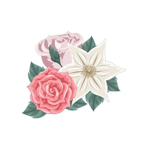 Conjunto de buquê de flores coloridas Vetor Premium