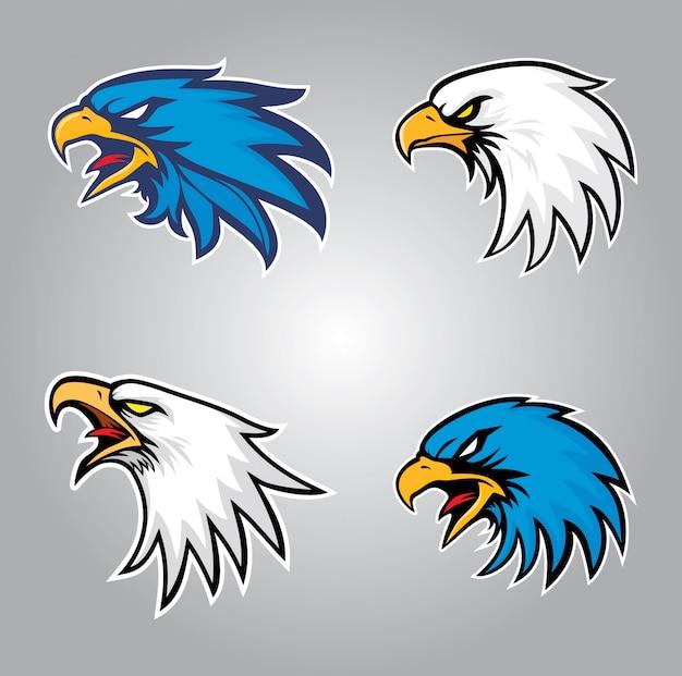 Conjunto de cabeça de águia Vetor Premium