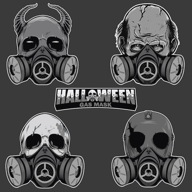 Conjunto de cabeça de caveira com máscara de gás Vetor Premium
