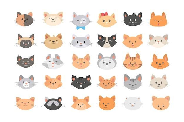 Conjunto de cabeça de gato. coleção de animal fofo e engraçado Vetor Premium