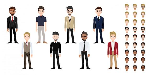 Conjunto de cabeça de personagem de desenho animado do empresário. homem de negócios bonito no estilo de escritório plana Vetor Premium